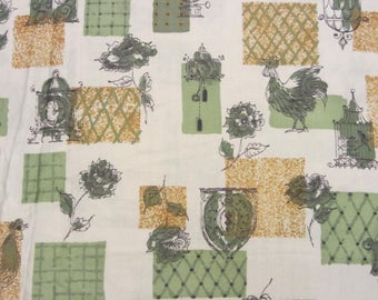 """Vintage 60s Novelty Print Fabric Rooster Cage Floral White Cotton Sateen 35"""" Wide 2 Yds"""