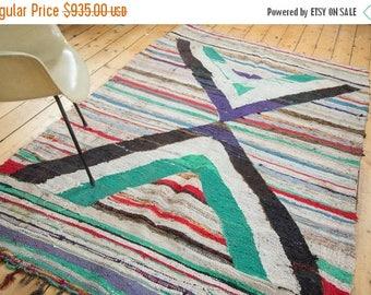 SPRING SALE 10% OFF 5x8 Vintage Rag Rug Carpet