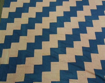 """Vintage quilt top 1880-1910 streaks of lightening tessellated design blue and double pink polka dot cotton fabrics   68"""" x 84"""" machine piece"""