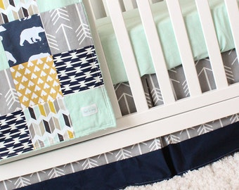 Woodlands Crib Bedding, Navy Bear, Grey Arrow, Mustard Tee pees and Mint Baby Bedding, Woodlands Nursery Crib Set