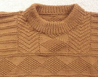 Man's large hand knit wool sweater in toffee brown fisherman style