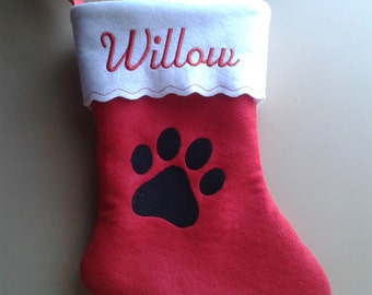 """12"""" Embroidered Personalized Pet Christmas Stocking Dog Paw."""