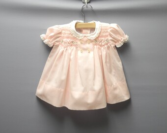 Vintage Baby Clothes  | 1980's Polly Flinders Pink Baby Dress | Vintage Baby Dress  | Size 3 - 6 Months