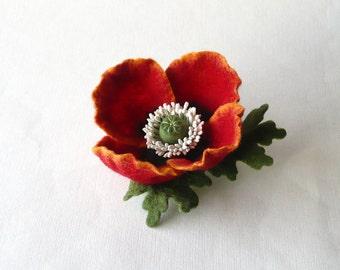 Felt brooch pin red poppy flower, ready to ship