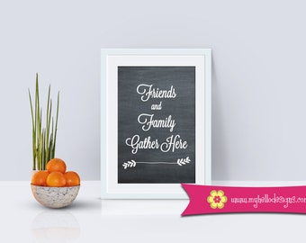 Home Wall Art Decor - Print Quote Friends Family Gather Chalkboard Simple Decoration Flower Kitchen Dining Foyer Entry Home House Love