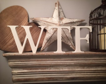 Set of 3 - Handpainted Wooden Freestanding Wedding Letters - WTF - Photo Props - 20cm - various colours and finishes