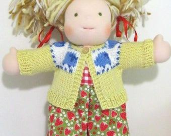 Handknit Sheep Waldorf Doll Cardigan~ 15-16 Inch