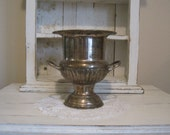 Vintage Leonard Wine Chiller Urn - Shabby Chic Loving Cup -  Silver-plated Brass Champagne Ice Bucket