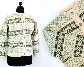 Vintage 1960s Norwegian sweater . Nordic Spruce . green fair isle cardigan . 1960s diamond knit sweater . lg / xl
