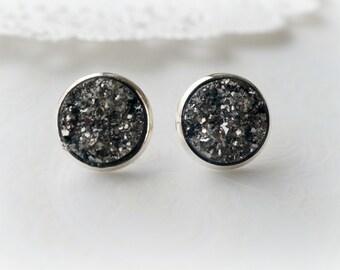 Silver and Dark Grey Faux Druzy Stud Earrings