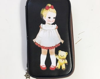 Pencil Pouch Pen Zipper Pouch Planning Stationary Pencil Case Old Fashion Girl Teddy Bear Vintage Girls Planner Pouch Case Organizer