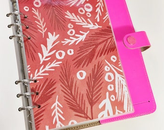 SALE A5 Size Christmas Red Glitter White Boughs of Holly Laminated Dashboard for Filofax Large Kikki-k Planner