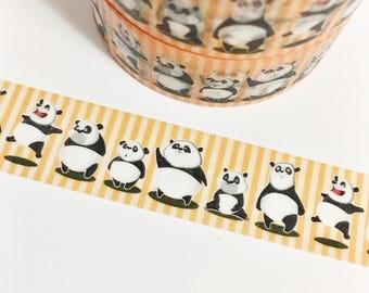 Orange Striped Panda Funny Face Cartoon Panda Bear Animal Washi Tape 11 yards 10 meters 15mm