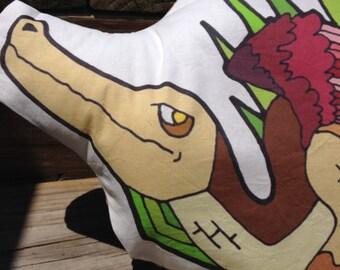 Bernard the dragon pillow Know Your Dragons dragon pixel low poly dragon original art pillow pal