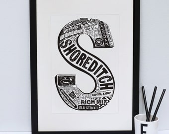 Shoreditch print - London print - London poster - London Art - Typographic Print - London illustration - letter art - East London poster