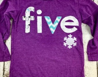 snowflake shirt, purple and teal, frozen, winter party, ice skating party, snowflake decor, girls birthday shirt any birthday, long sleeve
