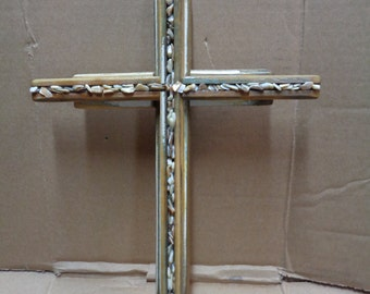 Reclaimed Barn wood layered double Wooden Cross with mother of pearl