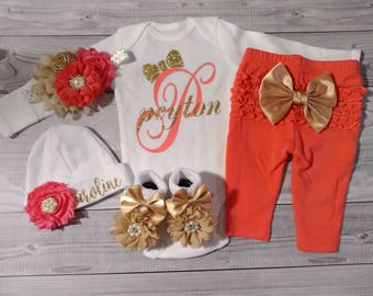 Coral, baby girl coming home outfit, baby girl take home outfit, girl, baby girl take home outfit, hospital, newborn baby girl, monogramed