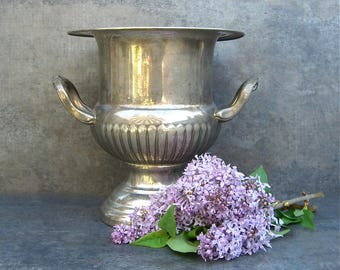 Silver Champagne Bucket Urn , Ice Bucket , Shabby Chic Rustic Patina, Glam Party, Celebration Toast
