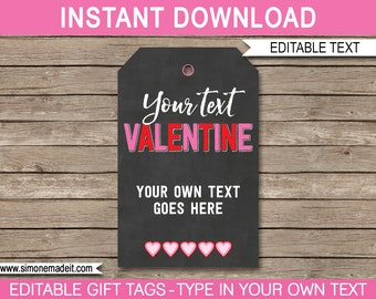 Valentine's Day Gift Tags - Valentine's Day Chalkboard Gift Tags - Printable Gift Tags - INSTANT DOWNLOAD with EDITABLE text