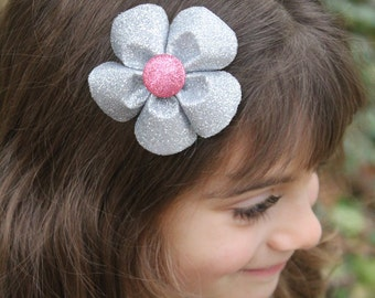 Sparkly Silver and Pink Flower Hair Clip - Valentines Hair Accessories - Pink Silver Flower Hair Bow