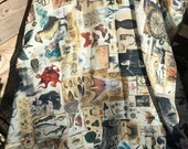 pareo beach cover up or scarf, cotton silk voile cabinet curiosity print patchwork