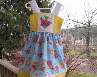 Girls party dress, Shopkins Dress, protriate dress, availabe to order 12mos, 2T,3T,4T,5t