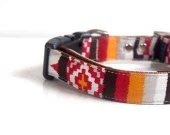 IKAT Dog Collar - red, orange, brown