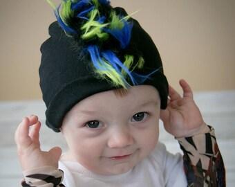 Mohawk Hat - Baby Mohawk - Fur Mohawk - Baby Mohawk Beanie - Faux Hawk - Punk Rock Baby - Mohawk Infant Hat - Punk Baby Boy