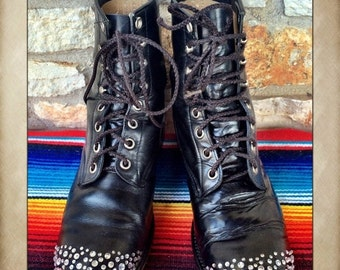 Sale Bedazzled Black leather Lace Up Boots from Justin size 7