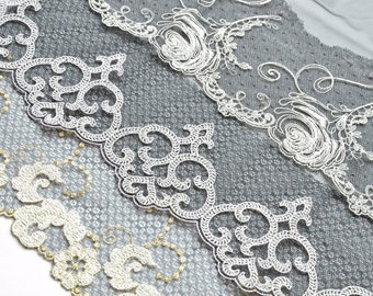 Grey, White, Black Lace Grab Bag, Black and White Trim, Dolls, Costumes, Lace Accessories  Upcycling Clothes, Lace Crafts