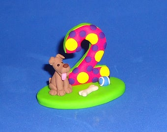 Polymer Clay Puppy with Number Cake Topper