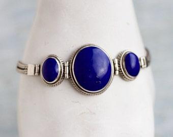 Lapis Lazuli Bracelet - Sterling Silver Bracelet - Vintage Oxidized Boho jewelry - Made in England