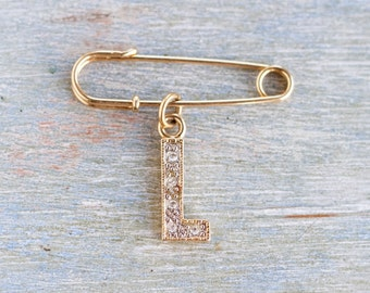 Golden Safety Pin with Letter L Charm - Initial L