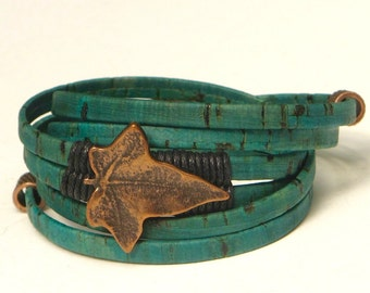 Turquoise Cork Wrap, Whirly Wrap bracelet, detailed antique brass leaf, black linen wrapped, brass findings, brass secure magnet