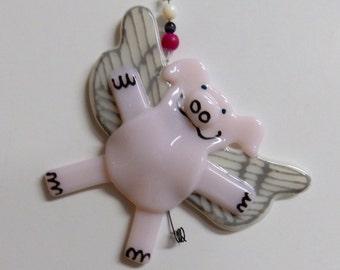 Angel Pig Glass Ornament