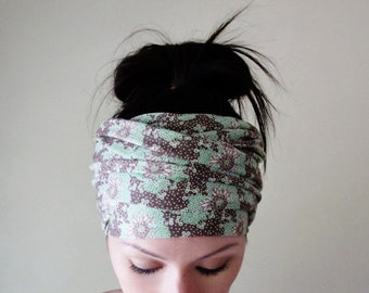 FLORAL Head Wrap - Botanical Head Scarf - Floral Hair Wrap - Yoga Headband - Extra Wide Jersey Head Scarf - Bohemian Hair Accessories