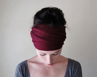 MAROON Head Scarf - Jersey Knit Yoga Headband - Cabernet Red Hair Wrap - Garnet Red Ear Warmer - Womens Workout Hair Accessory - Boho Wrap