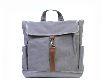 20% Valentine Sale KYLE // Dark Grey / Lined with Beige / 091 // Ship in 3 days // Backpack / Diaper bag / Shoulder bag / Tote bag / Purse /