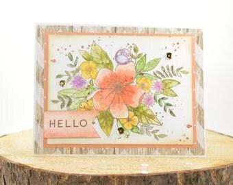 Birthday Card -  Watercoloured Handmade Card - Floral