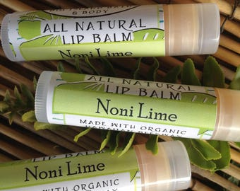 THREE Hawaiian Noni Lip Balm Organic Beeswax-Made in Hawaii