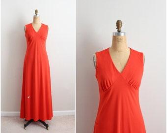 70s Orange Maxi Dress / 1970s Maxi Dress / Party Dress / Evening Gown/ Evening Dress / Size S/M
