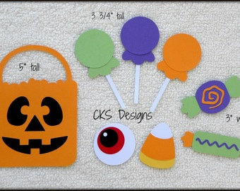 Die Cut Halloween Candy Bag & Candy Scrapbook Page Embellishments for Card Making Scrapbook or Paper Crafts