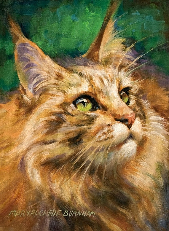 "What's New, Pussycat? 8x6"" Original, One of a Kind, Oil Painting of Tabby Maine Coon Cat, Pet Portrait, Animal Art"