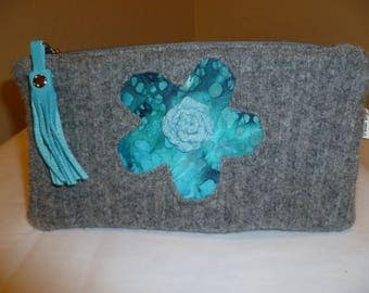 Aqua and Gray Large Pouch