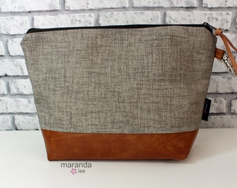 AVA Clutch -Large -Oyster Grey Denim with PU Leather READY to SHIp Cosmetic Wallet Makeup Diapers