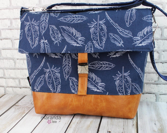 Lulu Large Flap Messenger Satchel  - Navy Feathers and PU Leather Travel Business Nappy Bag