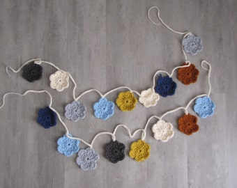 Handmade Crocheted Flower Bunting/Garland (2) - blue gray orange yellow - 53 inches long