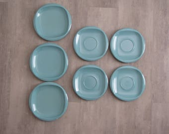 Vintage Turquoise Melmac Boontonware Dishes - 4 Saucers, 3 Dessert Plates