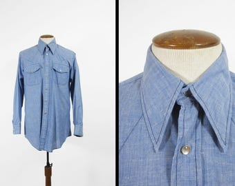 Vintage 70s Chambray Western Shirt Blue Snap Long Sleeve King Size Brand - Large Long Slim Fit